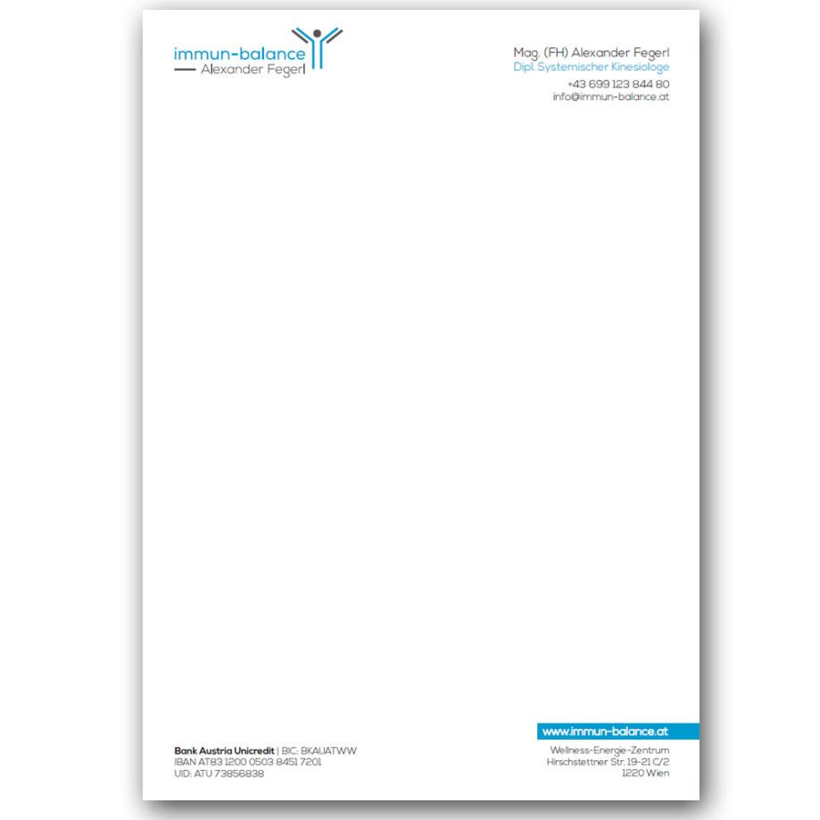 Briefpapier - immun-balance | Alexander Fegerl