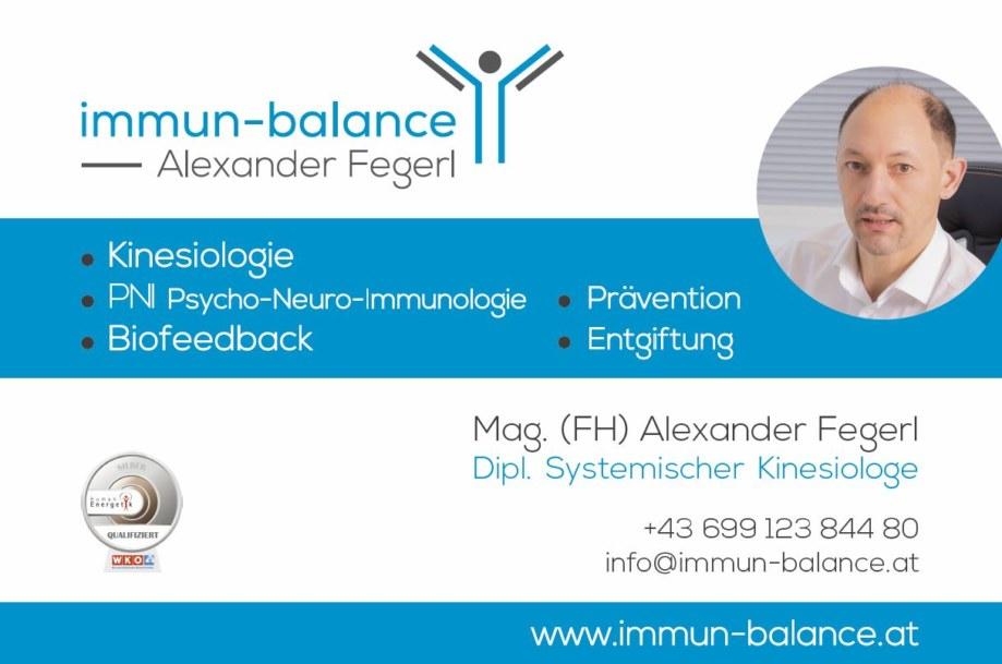 Acrylschild - immun-balance | Alexander Fegerl