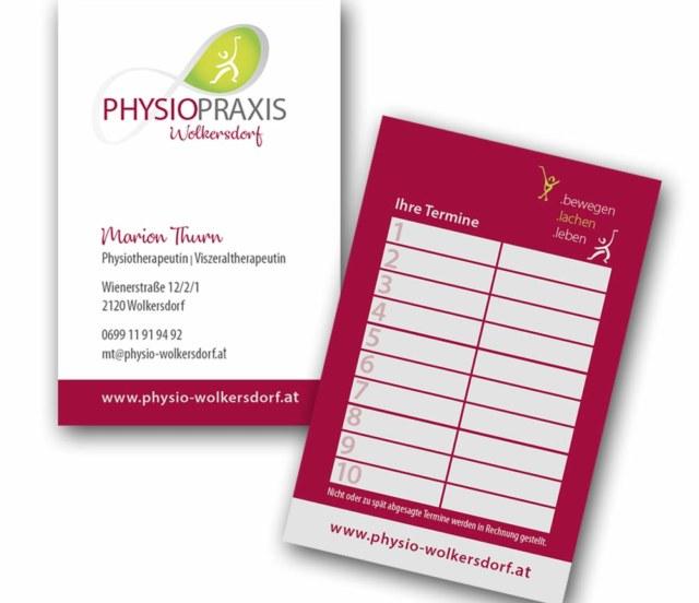 print fullspectrum - Visitenkarten mit Terminkarte für Physio-Wolkersdorf